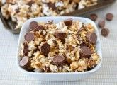 Reece's PB cup popcorn. Perfect for family movie nights!