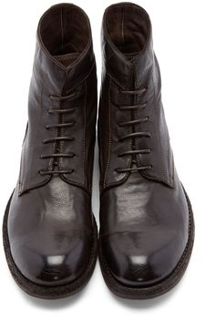 Officine Creative Brown Leather Ikon Boots