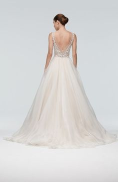 Main Image - Watters 'Janet' Embellished Tulle & Organza A-Line Gown (In Stores Only) Wedding Dress Sizes, Wedding Suits, Bridal Dresses, Wedding Gowns, Tulle Ball Gown, Ball Gowns, Bridal Separates, Nude Dress, Traditional Wedding Dresses