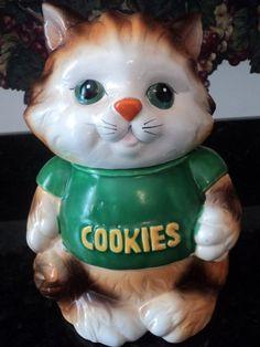 cookiejar.quenalbertini: Vintage Tabby Cat in T Shirt Cookie Jar | Etsy