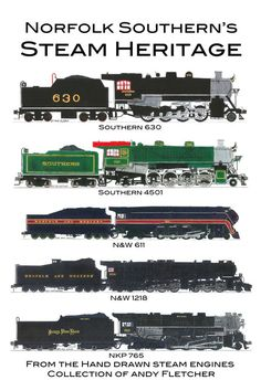 5 hand draw Norfolk Southern heritage steam engine drawings by Andy Fletcher Southern Heritage, Norfolk Southern, Train Drawing, Old Steam Train, Train Posters, Rail Transport, Southern Railways, Bonde, Train Art