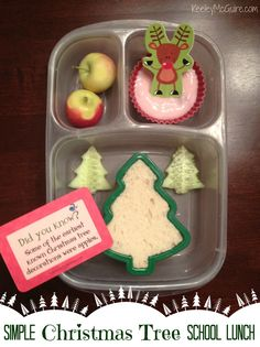 Lunch Made Easy: @MOMables Monday - Simple Christmas Tree School Lunchbox  Include @Lunchbox_Love Notes for Holiday fun!