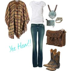 could do with out the poncho but oh my,  LOVE those boots and purse !!