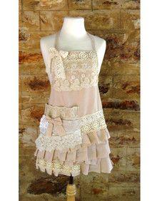 Pink Linen Lace Apron - Short
