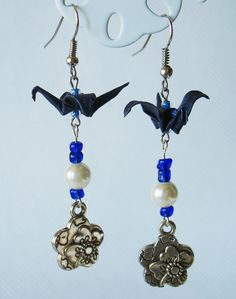 Handmade Origami Earrings with Cranes of Happiness Metallic Paper Dark Blue Pearl Flower Glitter