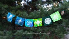 HandPainted Peace Flags Bunting Shades of Green Large by Behennaed, $50.00