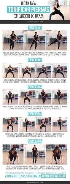 Rutina para tonificar piernas con ejercicios de fuerza ¿Os animáis con una rutina de fuerza paso a paso? Es ideal para fortalecer las piernas y tonificarlas. Recordad que lo ideal es que la combinéis con otras rutinas, y que después realicéis mínimo 30 minutos de cardio. ¡Mucho ánimo!