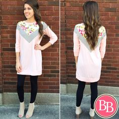 **NEW ARRIVAL** This little gem will have you feeling all the feels!! • NEW Feminine Feels Tunic #BBGirls #feels #tunic #peach #spring www.brandisboutiqueshop.co