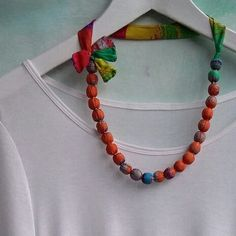 Silk necklace made from silk printed in beautiful shades of orange.