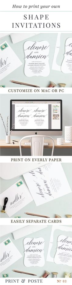 The perfect paper for Invitation Templates, Everly Paper. So easy to print and separate the shapes. printandposte.etsy.com