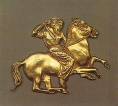 Plaque of a Scythian horseman. Gold, 4th century B.C.