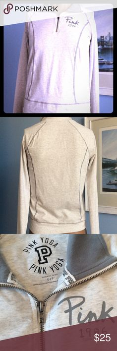 VICTORIA'S SECRET YOGA JACKET LIGHT GREY AND MED GRAY ALINE YOGA JACKET. ZIP AT TOP OF THE JACKET. GOOD CONDITION. S/P Victoria's Secret Jackets & Coats