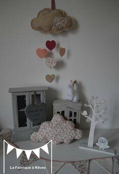 décoration chambre enfant bébé fille liberty nuage étoile guirlande fanions mobile coussin nuage