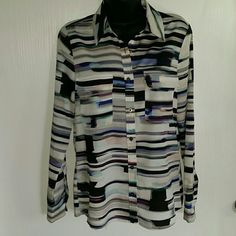 NWT Calvin Klein button down shirt! Multi color silky feel button down collared lond sleeve shirt. Two front pockets with small flap shown in pictures. Very soft and comfortable!!!    Calvin Klein Tops Button Down Shirts