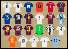 Camisetas de los candidatos al Balón de Oro 2014 / Fifa ballon d´or contenders 2014 shirts