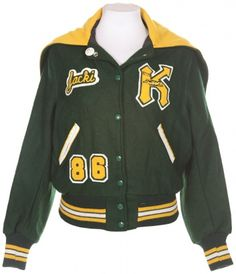 Green & Yellow Letterman Jacket - Vintage clothing from Rokit - Green & Yellow Letterman Jacket