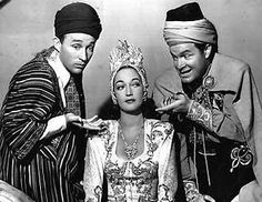 """Bing Crosby, Bob Hope and Dorothy Lamour in """"Road To Morocco""""."""