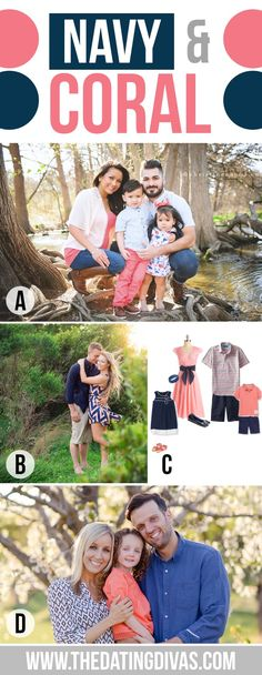 Easter Photos, Spring Picture ideas What to Wear for Family Pictures Navy and Coral How To Pose For Pictures, Family Pictures What To Wear, Family Portraits What To Wear, Spring Family Pictures, Family Beach Pictures, Family Pics, Family Posing, Easter Pictures, Spring Photos