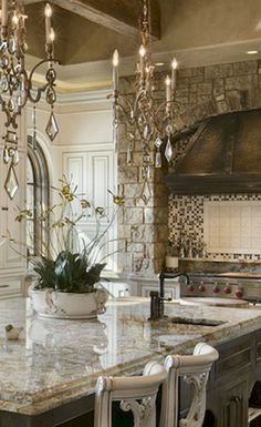 Amazing French Country Kitchen Design Ideas - Page 9 of 34 French Country Kitchens, French Country Bedrooms, Country Farmhouse Decor, French Country House, Country Homes, Country Style, Rustic Kitchen, Kitchen Ideas, Kitchen Seating