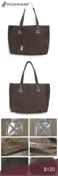 ❤️ SALE Ralph Lauren Jacquard, Leather, Suede Tote Although it\'s been very well loved, this beautiful chocolate tote is in great shape. It\'s very well made, all the stitching and zippers are in excellent condition. The front and back are a monogram jacquard fabric, the sides and bottom are a sueded nubuck leather, and the handles and trim are leather. This bag is built to last. There are some spots on the nubuck and scuffs to the leather, the most noticeable ones are pictured.   Approximately 12.75\