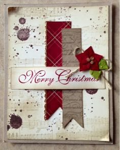 Need twine, interesting background paper, embossed red and green card stock, print out Merry Christmas (can do multiples) and scraps of other card stock