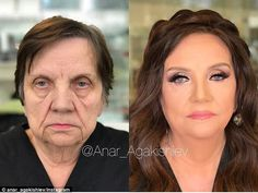 This 80-year-old lady arrived at Mr Agakishiev's Academy completely make up free with short hair and lines visible across her face - but after he finished, she looked like a new person