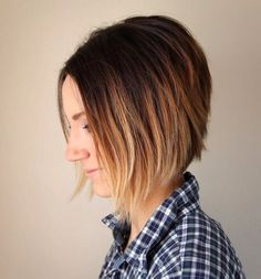 I love how an ombre can really stand out on a graduated haircut. The short length really defines the color and it's great on a small frame!