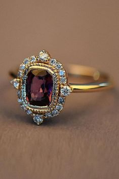 vintage engagement rings gold engagement rings halo ruby Vintage Gold Engagement Rings, Unusual Engagement Rings, Perfect Engagement Ring, Vintage Rings, Diamond Engagement Rings, Ruby Ring Vintage, Unusual Wedding Rings, Ruby Wedding Rings, Unusual Rings