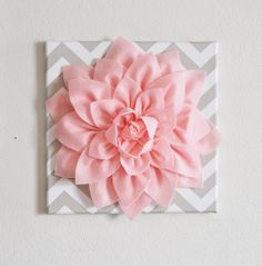 "Light Pink Wall Flower -Light Pink Dahlia on Taupe and White Chevron 12 x12"" Canvas Wall Art- Baby Nursery Wall Decor-"
