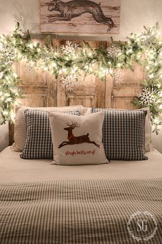 Holiday Decorating & Ideas - Decorate your headboard for Christmas.  CHRISTMAS NIGHTS TOUR - StoneGable