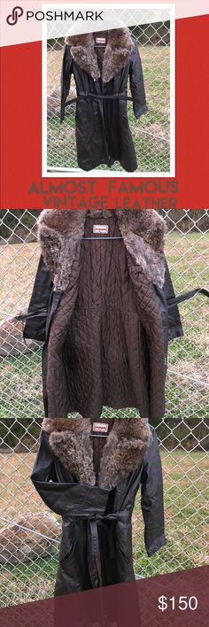 Almost Famous vintage brown leather coat This coat is totally cool true vintage ! Almost famous brown genuine leather with genuine real rabbit fur collar with the original belt tag brand is foxmoor size 9/10 . The cool thing is it has quilted lining for chillier days . It's a really rad vintage coat straight from Grandmas closet ! Will fit small -medium about 15 inches across and 40 inches long . Vintage Jackets & Coats Trench Coats