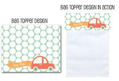 car baby shower, printable party decor, favor bag toppers, favor bag toppers, beep beep baby, boy shower ideas via Party Box Design