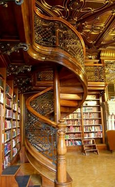 A spiral staircase is absolutely necessary in a library.