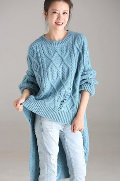 f4fe62bef6 Blue Casual Long Sweater Women Warm Fall And Winter Tops M6313