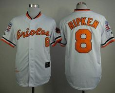 "$23.88 at ""MaryJersey""(maryjerseyelway@gmail.com) Mitchell And Ness 1970 Orioles 8 Cal Ripken White Throwback Stitched Baseball Jersey"