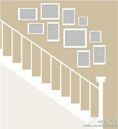 Picture Wall Layout for Stair& gallery wall ideas gallery wall layout Staircase Pictures, Gallery Wall Staircase, Staircase Wall Decor, Decorating Stairway Walls, Staircase Walls, Staircase Frames, Stair Decor, Stairway Wainscoting, Staircase Landing