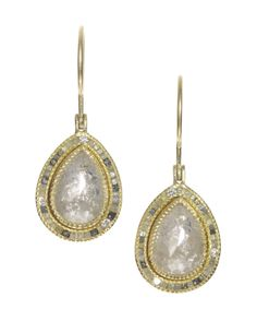 trde680_6 | 18ky gold earrings with large white diamonds and raw diamond cubes.