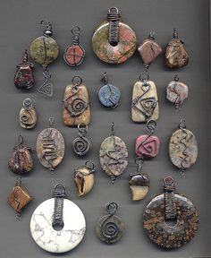 Stone and wire wrapped pendants after oxidizing   Flickr - Photo Sharing!
