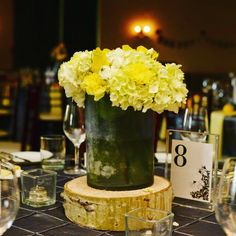 yellow boutonnieres, yellow corsage, yellow and tropical wedding flowers, yellow centrepieces, yellow and grey with birch accents Yellow Boutonniere, Boutonnieres, Yellow Centerpieces, Centrepieces, Wedding Flower Arrangements, Wedding Flowers, Graduation Flowers, Budget Fashion, Industrial Wedding