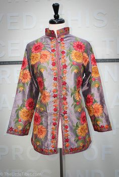 Hand made Silk jacket with flowery embroidered by TheLittleTibet