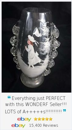 Beautiful applied ruffle and hand painted details on this vintage Mary Gregory Girl Butterfly Net Glass European Vase