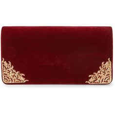 La Regale Burgundy Velvet-Inspired Minaudiere ($20) ❤ liked on Polyvore featuring bags, handbags, clutches, red, chain strap purse, chain strap handbag, chain handle handbags, red clutches and velvet clutches