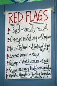 """""""The Red Flags Program"""" - A middle school/Jr. High depression education curriculum that helps students identify signs of depression in themselves and friends, reduces stigma, prevents suicide and paves a pathway to help."""