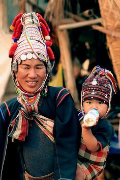 A Mother and child from the Akha tribe in North Thailand