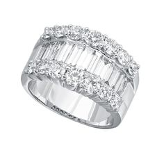 RD7113: Our signature Tipton ring in platinum with 1.92ct premium cut G/VS round diamonds and 1.63ct G/VVS baguette diamonds   www.goldcasters.com