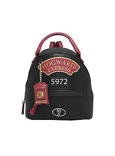 "<div>This may not carry much to Hogwarts, but it sure is cute! This black faux leather mini backpack from <i>Harry Potter</i> has burgundy faux leather adjustable straps, handle and zipper pulls. The front is designed like the locomotive with ""Hogwarts Express"" ""5972"" and ""10A"" patches and features a Platform 9 3/4 tag. Hidden front zipper pocket and interior zipper pocket. </div><div><ul><li style=""list-style-position: inside !important; list-style-type: disc !important"">Polyurethane</..."