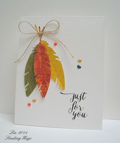 Cute Cards, Diy Cards, Feather Cards, Thanksgiving Cards, Fall Cards, Watercolor Cards, Happy Birthday Cards, Scrapbook Cards, Scrapbooking