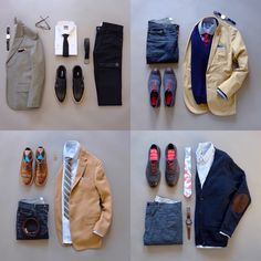 Saturday recap of the 4 most popular flatlays.  Which one is your favorite?  #flatlays #menswear