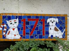 Mosaic House Number/Sign/plaque/address sign (cat and dog design) - made to order