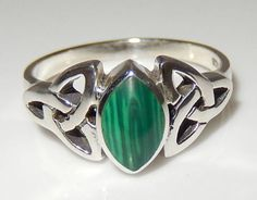 Celtic TRISKELE Ring 925 Sterling Silver Triquetra Malachite TRINITY KNOT Ring